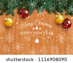 christmas card with detailed... | Shutterstock . vector #1116908090