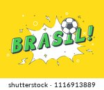 speech bubble brasil with icon... | Shutterstock .eps vector #1116913889