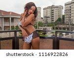 sexy ebony lingerie model | Shutterstock . vector #1116922826