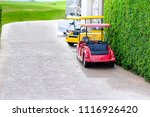 red  yellow and white golf car...   Shutterstock . vector #1116926420