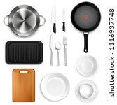 kitchen utensils top view... | Shutterstock .eps vector #1116937748