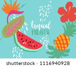 minimal summer trendy vector... | Shutterstock .eps vector #1116940928