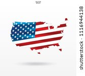 map of the usa with american... | Shutterstock .eps vector #1116944138