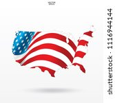 map of the usa with american... | Shutterstock .eps vector #1116944144