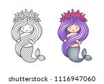 gorgeous mermaid with a wreath... | Shutterstock .eps vector #1116947060