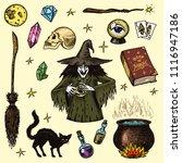 halloween elements. magic ball  ... | Shutterstock .eps vector #1116947186