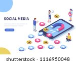 social media concept with... | Shutterstock .eps vector #1116950048