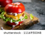 low carb burger option   tomato ... | Shutterstock . vector #1116950348