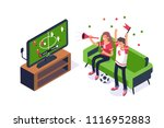 football fans watching game on... | Shutterstock .eps vector #1116952883