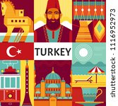 turkey travel poster concept.... | Shutterstock .eps vector #1116952973