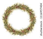 watercolor christmas wreath.... | Shutterstock . vector #1116957404