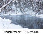 Winter river landscape scene - stock photo
