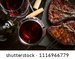 dinner for two with steaks and... | Shutterstock . vector #1116966779