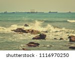 vintage. wonderful seascape.... | Shutterstock . vector #1116970250