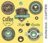 vector coffee labels in ... | Shutterstock .eps vector #111697850