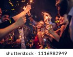 group of friends celebrating at ... | Shutterstock . vector #1116982949