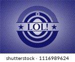 lol  badge with denim background | Shutterstock .eps vector #1116989624