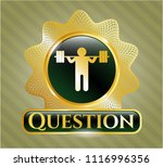 gold emblem with squat icon... | Shutterstock .eps vector #1116996356