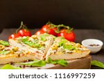 pieces of pizza with ham ... | Shutterstock . vector #1116997259