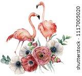watercolor flamingo with... | Shutterstock . vector #1117005020