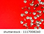 metal shiny sharp pins or... | Shutterstock . vector #1117008260