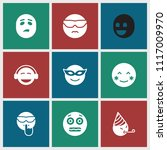 emotion icon. collection of 9... | Shutterstock .eps vector #1117009970