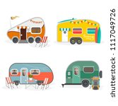 set of travel trailer caravans... | Shutterstock .eps vector #1117049726