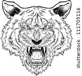 angry tiger roaring illustration | Shutterstock .eps vector #111705116