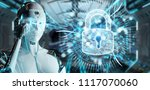 white cyborg woman on blurred... | Shutterstock . vector #1117070060