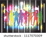 dancing people silhouettes.... | Shutterstock .eps vector #1117070309