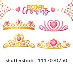 princess crowns with heart gems ... | Shutterstock .eps vector #1117070750