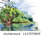 Duck Pond With Trees On The...