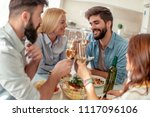 happy friends having fun at... | Shutterstock . vector #1117096106