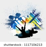 crowd with raised hands at... | Shutterstock .eps vector #1117106213