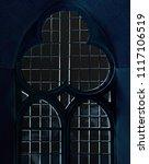 gothic latticed window in dark...   Shutterstock . vector #1117106519