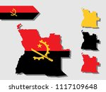 angola map with national flag... | Shutterstock .eps vector #1117109648