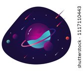 vibrant colorful planet with... | Shutterstock .eps vector #1117110443