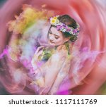 the lady of flowers is half... | Shutterstock . vector #1117111769