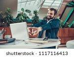 worker man in suit exercising... | Shutterstock . vector #1117116413
