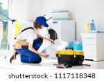 washing machine repair service. ... | Shutterstock . vector #1117118348