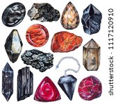 set of watercolor gems. root... | Shutterstock . vector #1117120910