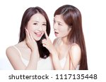 two beauty skincare woman touch ...   Shutterstock . vector #1117135448