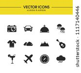 summer icons set with mountain  ...
