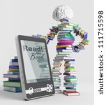 bookish man stands next to an e ...   Shutterstock . vector #111715598