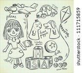Set Of Vintage Toys In Doodle...
