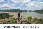 woman traveler posing on the... | Shutterstock . vector #1117164119