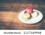 colorful french macarons on... | Shutterstock . vector #1117169948