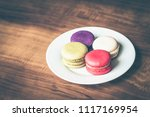 colorful french macarons on... | Shutterstock . vector #1117169954