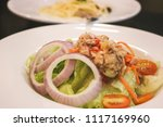 close up of tuna spicy salad in ... | Shutterstock . vector #1117169960