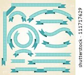 set of retro ribbons and labels.... | Shutterstock .eps vector #111717629